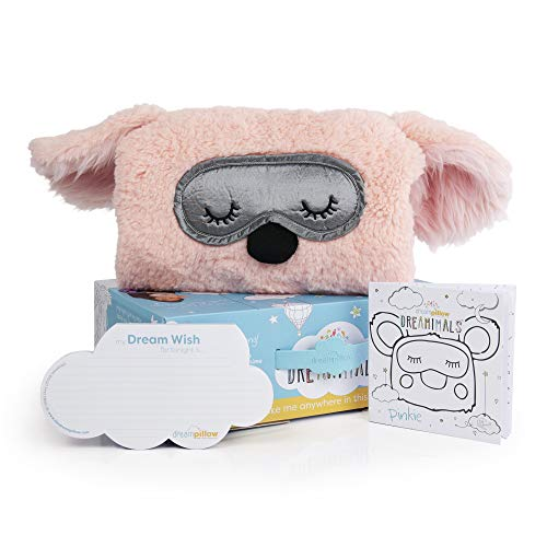 The Dream Pillow, a Fun Super Soft Plush Toy Pillow You Can Snuggle. Promotes Better Sleep Routine. Bundle Includes Pillow, Storybook and 60 Dream Wish Notes. (2 Pack) (1, White) (Pinkie Gift)