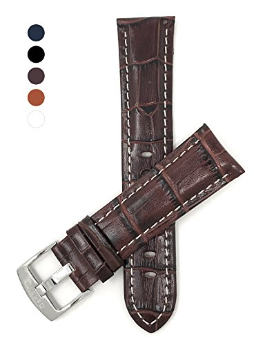 s' Alligator Style Genuine Leather Watch Band Strap, With White Stitching, Glossy Finish, Comes in Royal Blue, White, Black and Tan (Hamilton Leather)