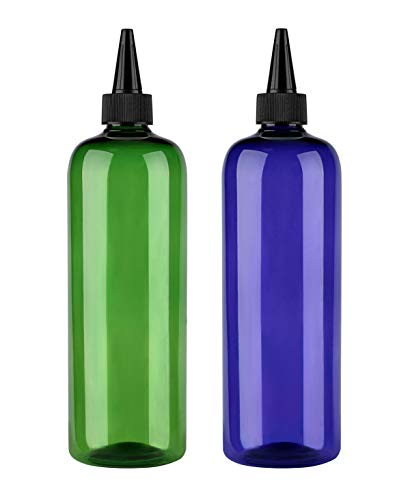 Sdootbeauty Hair Color Bottle Applicator, Applicator Bottle 16 ounce, Squeeze Bottle for Hair, PET Plastic Refillable Bottles with Twist Top Cap-2 Pack, Green and Blue