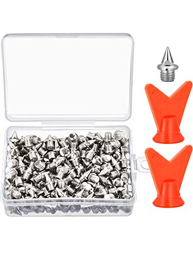 Zhanmai 200 Pieces 1/4 Inch Track Shoe Spikes Steel Spikes Replacements with 2 Pieces Spike Wrench for Sports Running Track Shoes ()