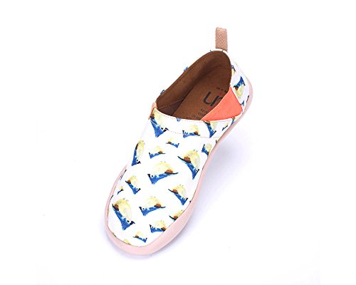Uin Heren Flappy Vogel Bedrukte Canvas Loafer Schoen Witte Kleur (11)