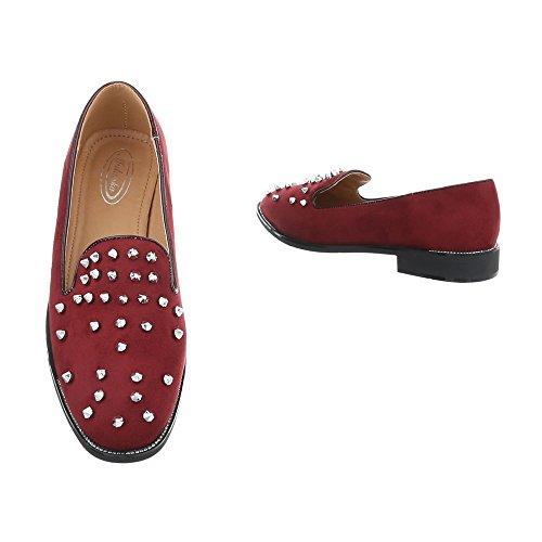 Schuhcity24 Damen Schuhe Halbschuhe Slipper Weinrot