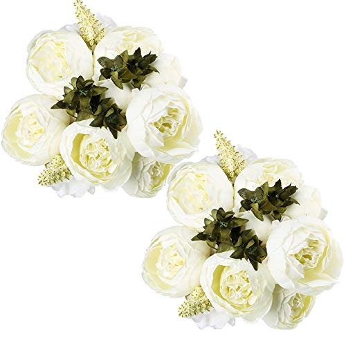 - Ogrmar Vintage Artificial Peony Silk Flowers Bouquet for Decoration (White x2)