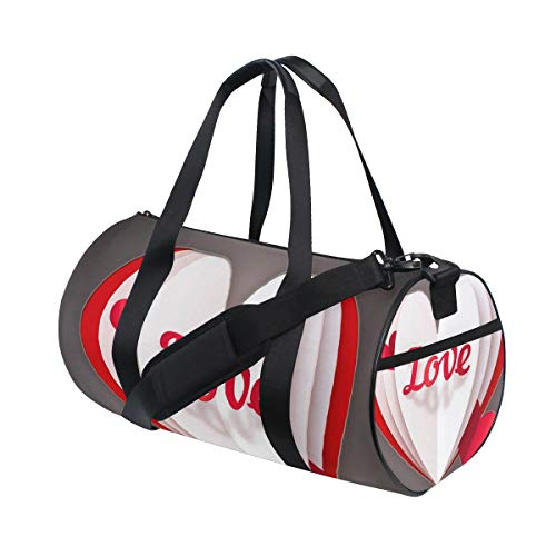 OuLian Duffel Bags Breath Taking Heart Shaped Womens Gym Yoga Bag Small Fun Sports Bag for Men