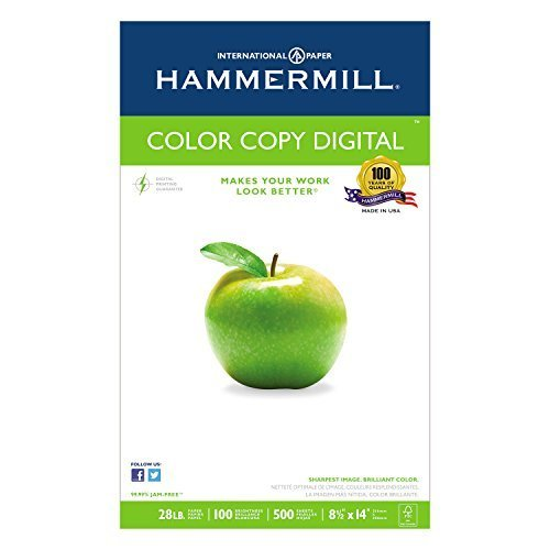 Copy Paper, 100 Brightness, 28lb, 8-1/2 X 14, Photo White, 500/ream by Hammermill