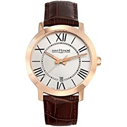 Saint Honore Men's 861020 8AR Trocadero Paris Rose Gold PVD Brown Genuine Leather Date Watch