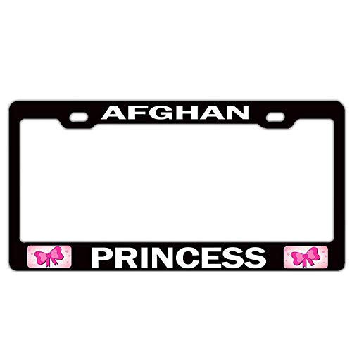 - HuiyaoEC Afghan Princess License Plate Frame for Women, Stainless Steel License Plate Frame with Screw Caps - 2 Holes Car License Plate for US/CA Vehicles