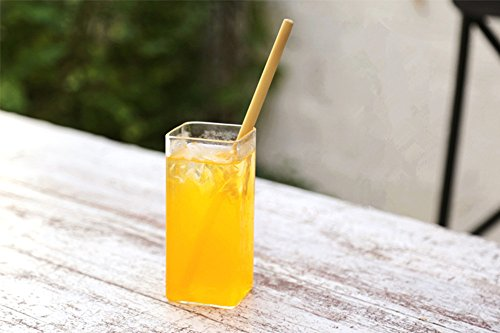Bamboo Drinking Straws | 23CM Organic Natural Reusable ECO Friendly | Hand-crafted Alternative to Plastic Straws | Set of 6, with Cleaning Brush by (Bamboo Stem Material)