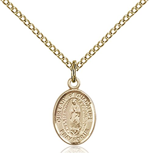 Patron Saints by Bliss 14K Gold Filled Our Lady of Guadalupe Petite Charm Medal, 1/2 Inch