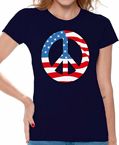 Awkward Styles Women's Peace Flag Patriotic T shirt Tops American Flag Peace Sign Navy XL