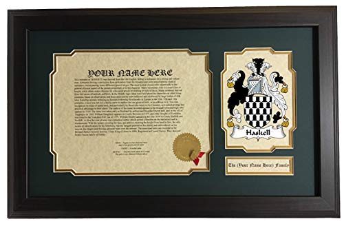 Haskell - Coat of Arms and Last Name History, 14x22 Inches Matted and Framed