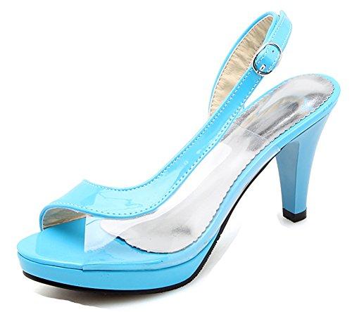 Talon Transparent D'orsay Sexy Bal Aisun Fille 8cm Haut Bleu Femme Sandales tnqAcwcBS
