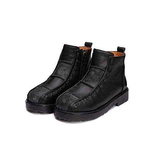 Casual Chaussures Wearable cuir glissière Black Ladies Confortable en Fermeture Zpedy Vintage à zqaOnwT6