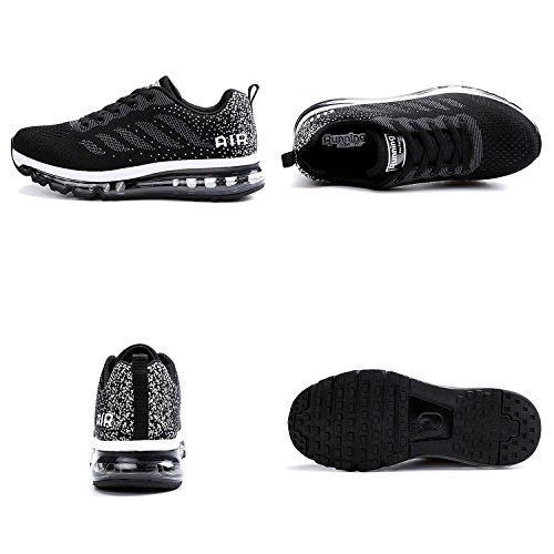 Cushion up Flat Black Shoes Jogging Air Sneakers Running Women Unisex Men White Mesh Athletic Bornran Fitness Lace IgUzAw0x