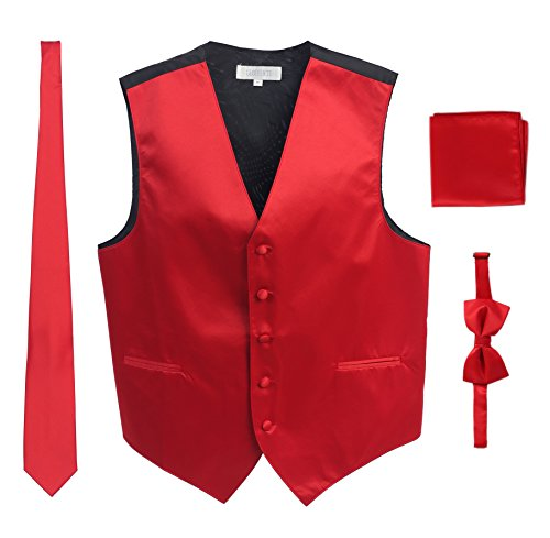 - Men's Formal 4pc Satin Vest Necktie Bowtie and Pocket Square, Red, X Large