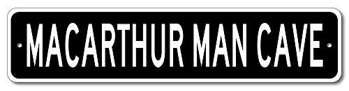 MACARTHUR Man Cave - Custom MACARTHUR Last Name Aluminum Sign - Black - - Shops Macarthur