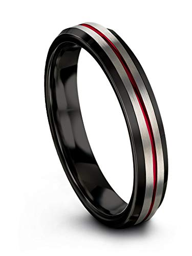 Chroma Color Collection Tungsten Carbide Wedding Band Ring 4mm for Men Women Red Center Line Black Interior with Beveled Edge Brushed Polished Comfort Fit Anniversary Size 14
