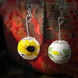 Iumer Vintange Ethnic Ceramic Bead Earring Blue and White Porcelain Earrings for Women Jingdezhen Ceramic Jewelry,Sun Flower