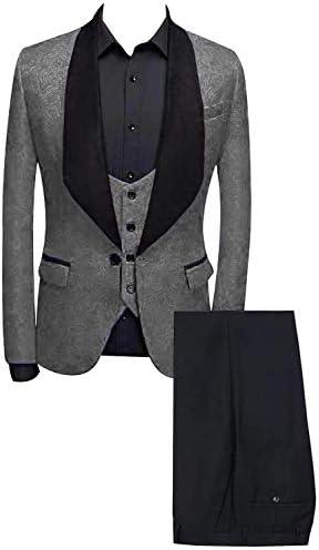 メンズスーツソリッドショールラペルスリムフィット1ボタン3個セットウェディングタキシード