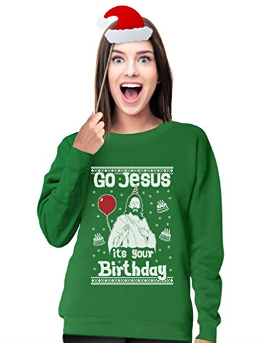 TeeStars - Go Jesus it's Your Birthday Ugly Christmas Sweater Women Sweatshirt Medium (Jesus Ugly Sweater)