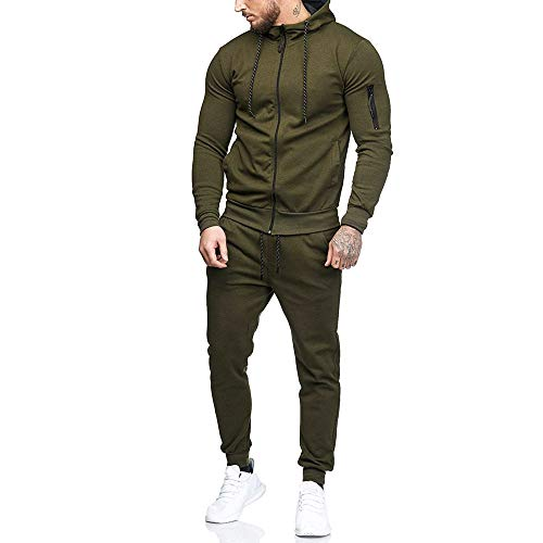 POQOQ Sweatshirt Top Pants Sets Men Hooded Patchwork Zipper Front Sports Tracksuit M Army -