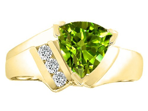 Tommaso Design Trillion 7mm Genuine Peridot Ring 14kt Size 7 by Tommaso design Studio