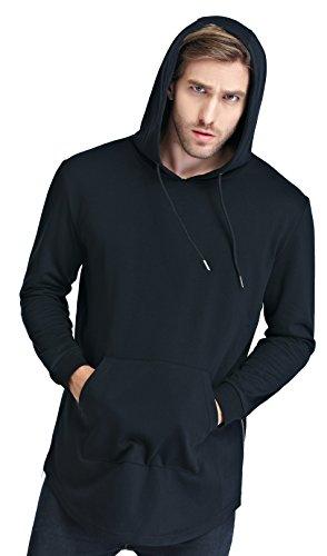 Bertte+Men%27s+Tall+Size+Hoodie+Sweatershirt%2C+Black%2C+Medium