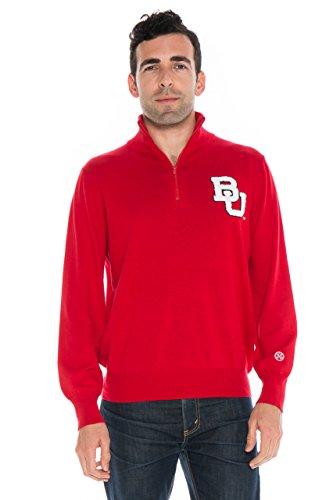 NCAA Boston University Terriers Men's Quarter Zip Sweater, Large, Crimson
