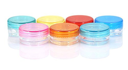 12PCS 2g Empty Refillable Travel Plastic Cosmetic Jar Pot Sample Containers with Screw Cap Makeup Face Cream Lip Balm Eye Shadow Storage Box (Color Random) (Round Shape) ()
