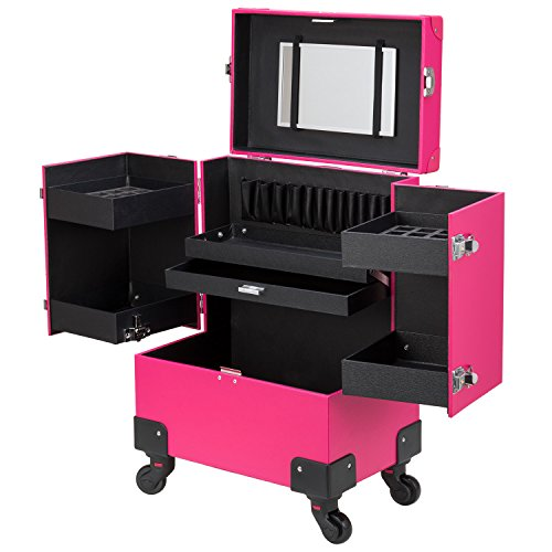 (Ollieroo Makeup Train Case Rose-Pink Lockable PU Artist Makeup Cosmetic Train Case with 4 Removable Rolling Wheels and 4 Keys)