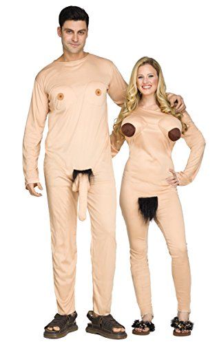 Halloween Couples Costumes - Fun World Funny Nudist Couple Jumpsuits