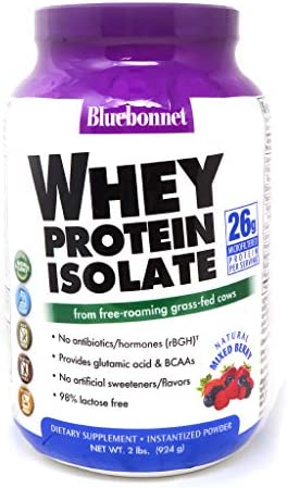 Bluebonnet Nutrition Whey Protein Isolate Powder, Whey From Grass Fed Cows, 26g of Protein, No Sugar Added, Non GMO, Gluten Free, Soy free, kosher Dairy, 2 Lbs, 28 Servings, Mixed Berry Flavor