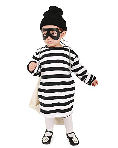 (Miccostumes Kids Burglar Robber Halloween Costume Hat Mask Bag (one Size) White and)