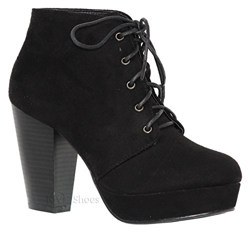 - MVE Shoes Women's Lace up Block Heel Ankle Booties - Faux Saude Platform Booties - Fashion All Season Booties, camille-86 Black 10