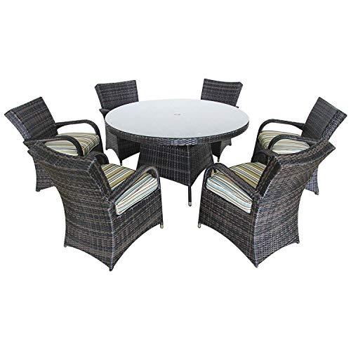 PATIOPTION Patio Set Outdoor Wicker Patio Furniture Sets Modern Bistro Set PE Rattan Chair Conversation Dining Sets (Round Table 6 Seater) (Furniture Seater 6 Garden Rattan Set)