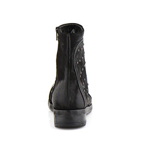 Felmini - Zapatos para Mujer - Enamorarse com Spirit 9848 - Botas Cowboy & Biker - Cuero Genuino - Negro Negro