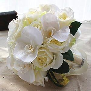 Bluecastle Artificial Rose Cascading Bridal Bouquet -26 Heads Flower for Wedding Bouquet, Flowers Bunch Hotel Party Garden Floral Decor 30