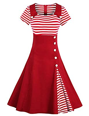Wellwits Women's Vintage Pin Up A Line Stripes Sailor Dress