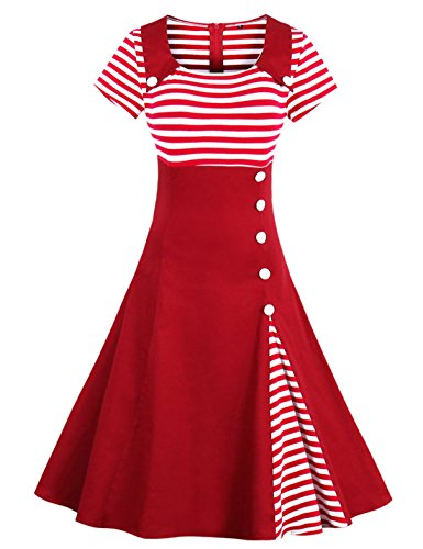 Wellwits Women's Vintage Pin Up A Line Stripes Sailor Dress Christmas Red 3XL ()