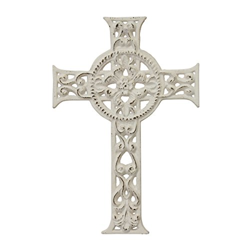 Hanging Cross (Stonebriar Decorative Distressed White Cast Iron Wall Cross with Hanging Loop, Celtic Inspired Design, Religious Decoration for Weddings, Parties, or Everyday Home Decor)