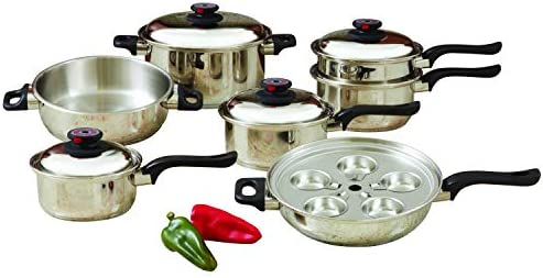 World s Finest 7-Ply Steam Control 17pc T304 Stainless Steel Cookware Set