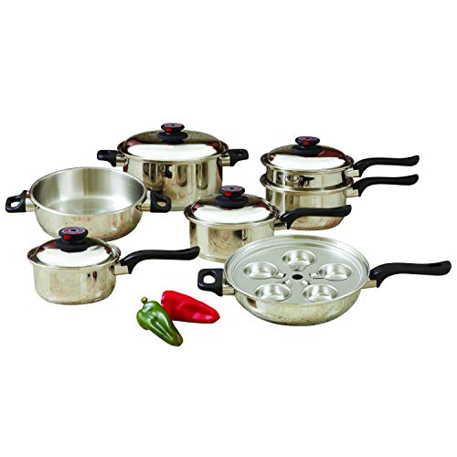 Cookware Set 17pc Stainless - World's Finest 7-Ply Steam Control 17pc T304 Stainless Steel Cookware Set