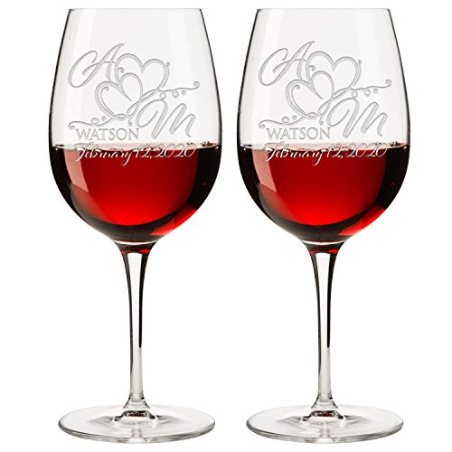(Personalized Set of 2 Wine Glass (DESIGN-4, WINE GLASS) )