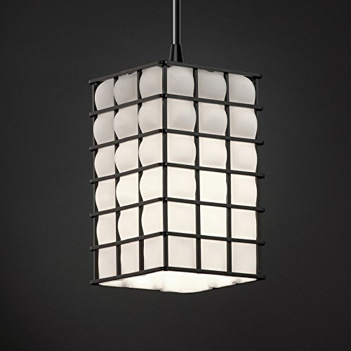 Justice Design Group WGL-8816-15-GROP Wire Glass 1 Light Mini Pendant with Squar, Brushed (Justice Design Nickel Pendant)