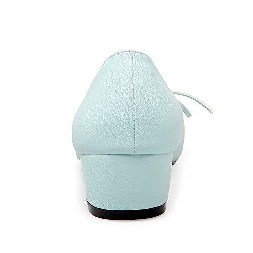 AllhqFashion Damen Niedriger Absatz Gemischte Farbe Ziehen auf PU Quadratisch Zehe Pumps Schuhe Blau