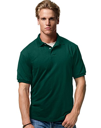 Green Knit Polo - Hanes Men's ComfortBlend EcoSmart Jersey Polo (Deep Forest) (3X-Large)