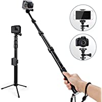 HSU Handheld Monopod Extension Pole With Phone Clip Holder,Tripod Stand, Waterproof Selfie Stick for GoPro Hero 6/5 Black/Session ,Digital Cameras and Cell Phone | Extendable At 44