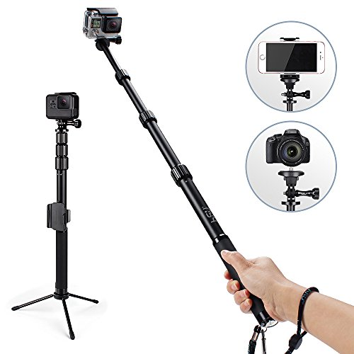 Professional Selfie Stick Monopod With Phone Clip Holder,HSU Waterproof Metal Phone Tripod Stand for GeekPro/Gopro Hero Black/Session ,Digital Cameras and Cell Phone | Extendable At 44""