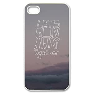 Lets Run Away Custom Case for Iphone 4,4S, Personalized Lets Run Away Case