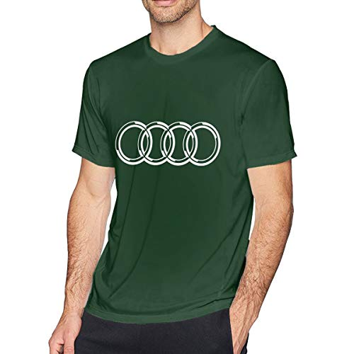 HANRUI Personalized Audi Logo T Shirts for Man100% Organic Cotton Short Sleeve Forest Green